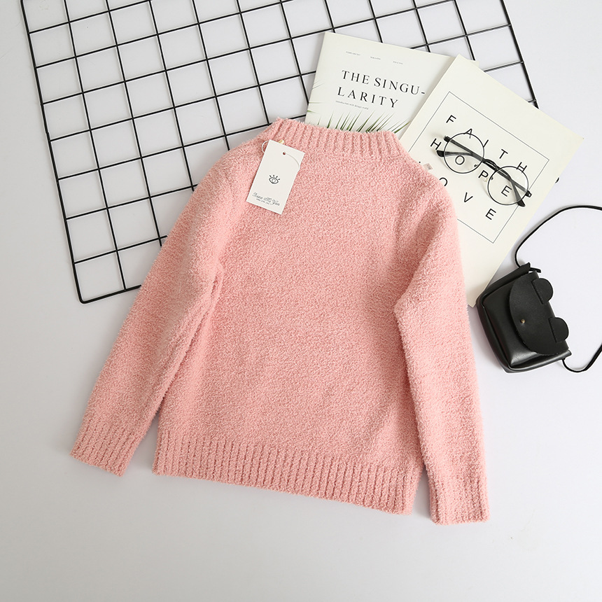 650db9365 Toddler Girl Cartoon Bunny Knit Sweater Tops Kids Pullover Chenille ...