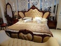Высокое качество современный роскошный деревянный кровати, комплекты мебели Дизайн, французский резьба кожа кровать King Размеры кровать