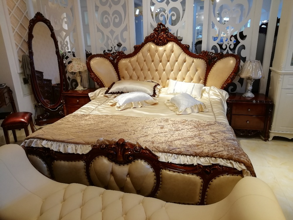 Us 1880 0 High Quality Modern Luxury Wooden Beds Furniture Sets Design French Carving Leather Bed King Size In From On