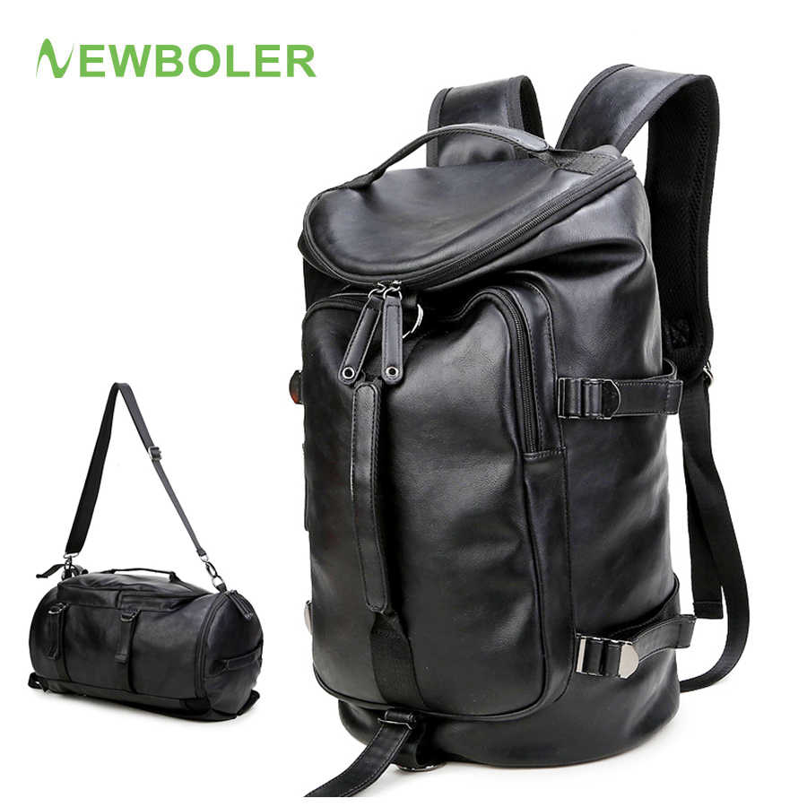 NEWBOLER Gym Bag Leather sac de Sport Backpack For Men Fitness Training  Travel Camping Waterproof Shoulder a3a7442df2f50