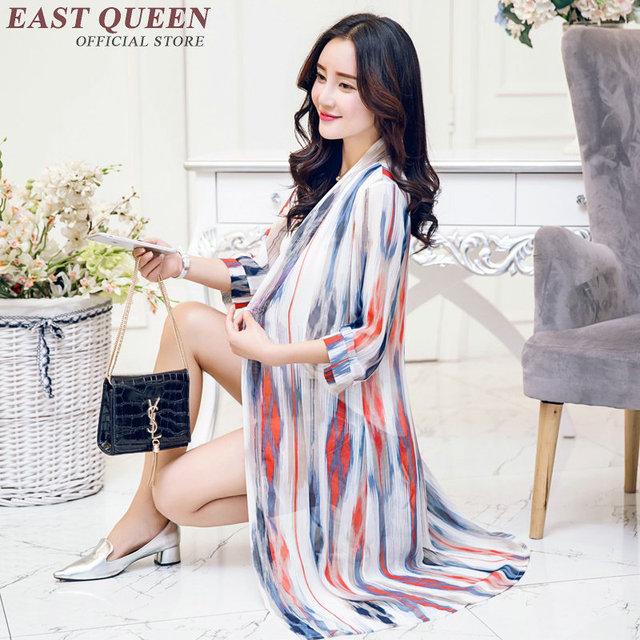 Woman summer beach V-Neck collar Long yarn clothes  Beach coverup Summer long cardigan Elegant print organza AA2075 X
