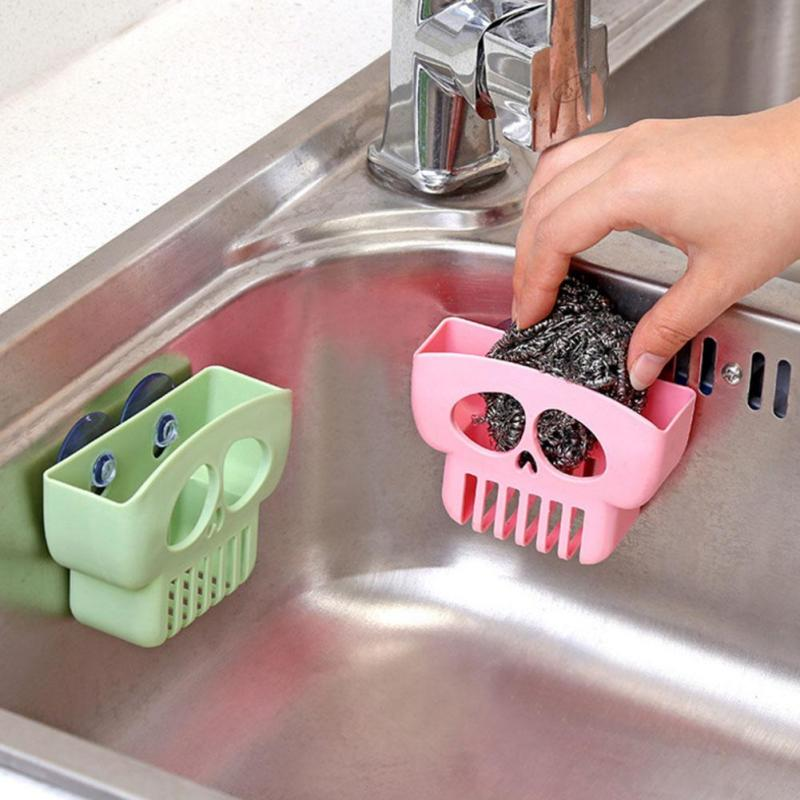 Plastic Kitchen Sink Shelf Drying Drain Sponge Holder Suction Cup Storage Racks And Shelving Bathroom Soap Holder F