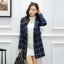 Nice Autumn Coat double breasted Trench Coat And Long Sections Trench Coat For Women Tartan Coat
