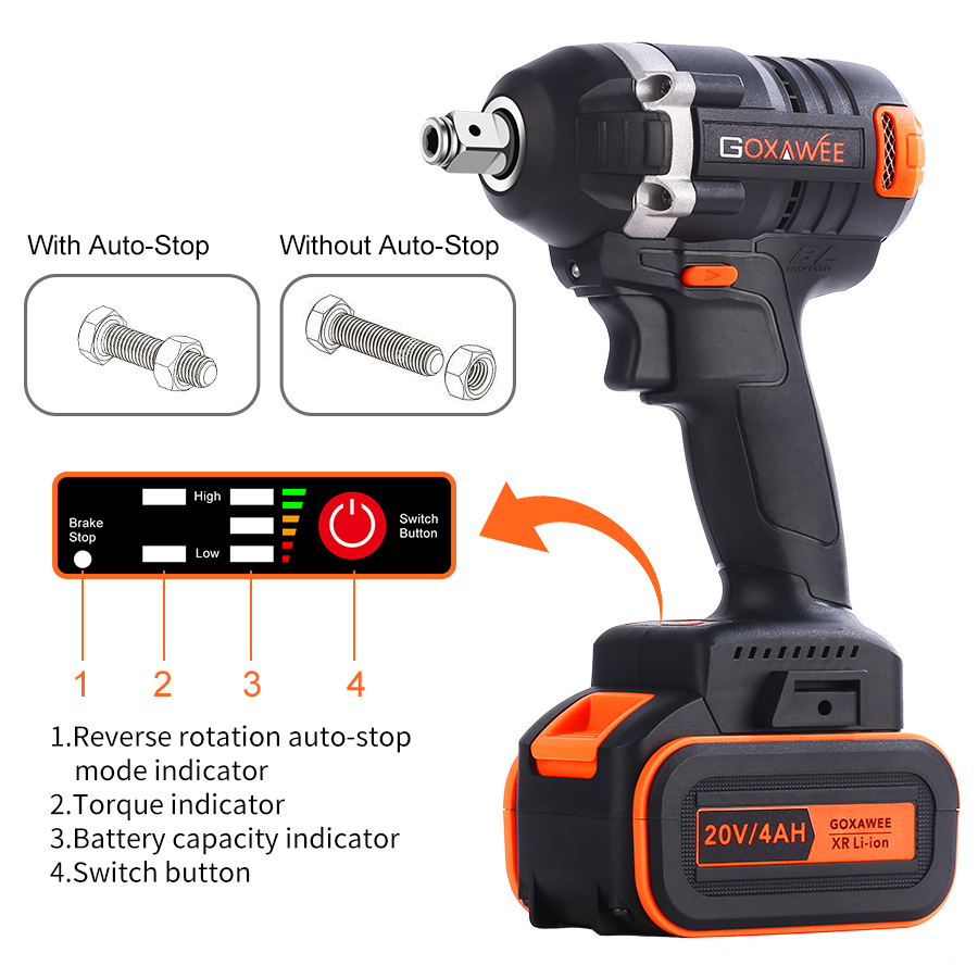 Image 2 - GOXAWEE 21V Cordless Electric Wrench Impact Driver Socket Wrench 4000mAh Lithium Battery Hand Drill Installation Power Tools-in Electric Wrenches from Tools on