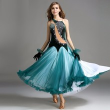 big swing green velvet standard ballroom dance dresses purple red sequins ballroom dance competition dresses waltz performance