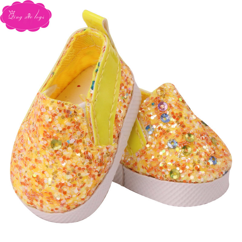 """Yellow Slip-on Sneakers Fits 18/"""" American Girl or Boy Doll Clothes Shoes"""