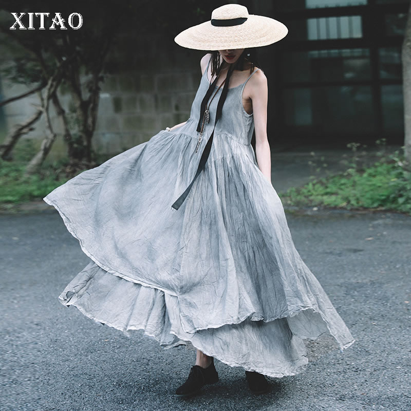XITAO Summer 2019 Women New Like A Breath of Fresh Air Lovely Solid Color Patchwork