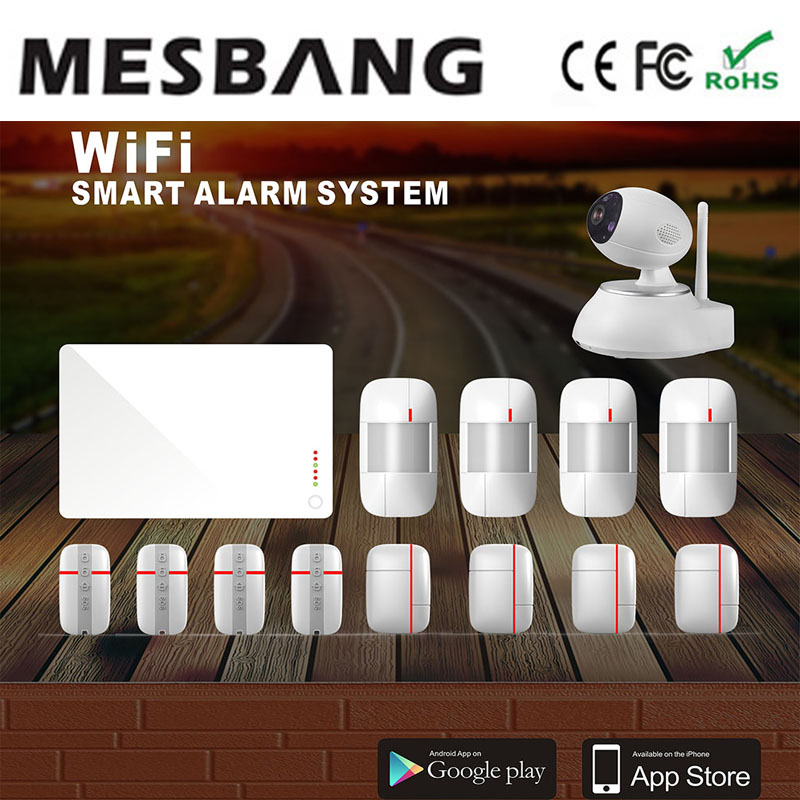 mesbang wifi  wireless home security  alarm burglar system IP Camera with APP support Andriod and ISO Phone  free shipping 1 set s3 wireless pstn alarm system with wifi function support app control home security personal defense burglar alarm 433mhz
