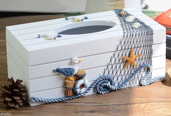 Decorative Tissue Box Cover Simple Decorative Vintage Decor Wood Tissue Box Cover Seagull Starfish Review