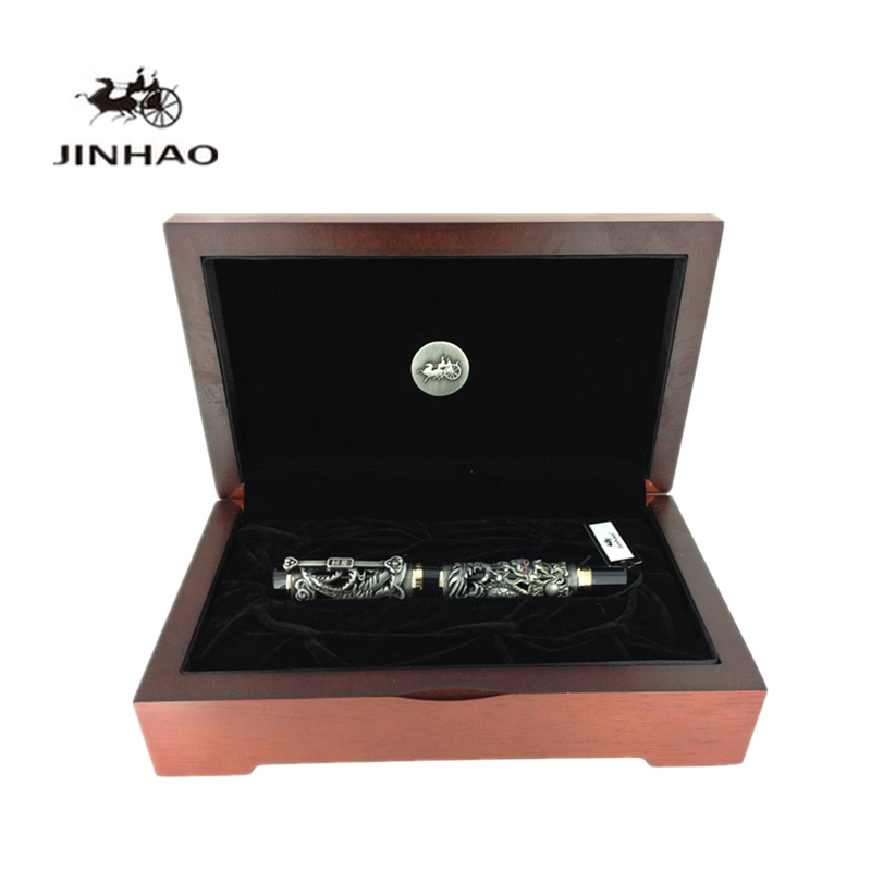 Jinhao Luxury Gift Pen 3D Dragon and Phoenix Metal Fountain Pen with Original Case 0.5mm Iridium Nib Ink Pens Free Shipping jinhao black and gold auspicious dragon embossed fountain pen with 0 5mm nib for gift pens free shipping