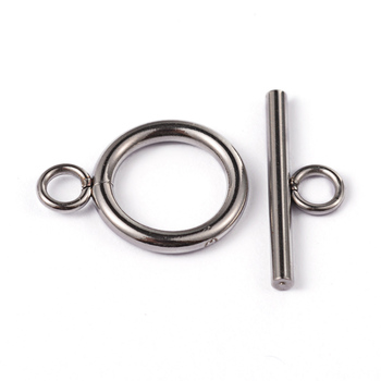 PandaHall 20pcs Toggle: 19x14x2mm 304 Stainless Steel Metal Ring Toggle Clasps and Jewelry Tbars Decoration Accessories