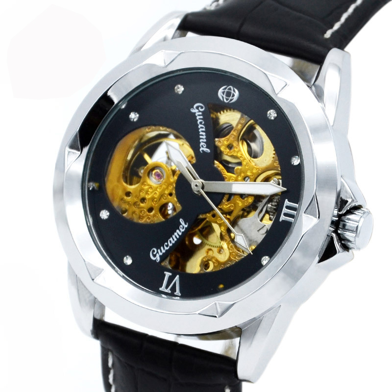 Automatic Mechanical Watch Business Men's Month-type hollow Waterproof Mineral Glass Stainless Steel / Real Leather