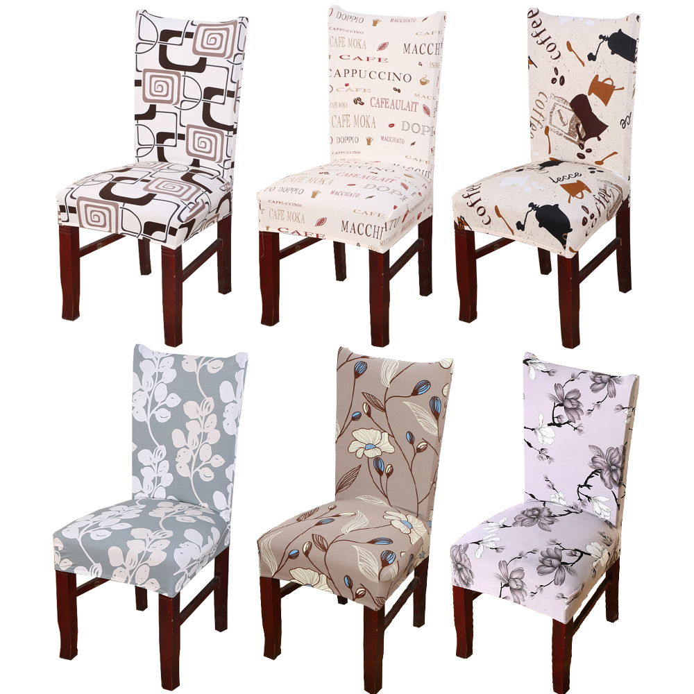1Pc Spandex Elastic Floral Print Letter Pattern Slipcovers Stretch Removable Dining Chair Cover Hotel Banquet Seat Cover ...
