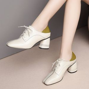 Image 5 - ALLBITEFO גדול גודל: 34 42 עור אמיתי בוהן מרובע עקבים גבוהים מסיבת נשים נעלי נשים גבוהה העקב נעלי אביב נשים עקבים