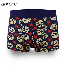 DANJIU Best Sell Fashion Ice Silk Underwear Men Cartoon Print Man Boxers Homme Comfortable Underpants Soft Breathable Male Pants