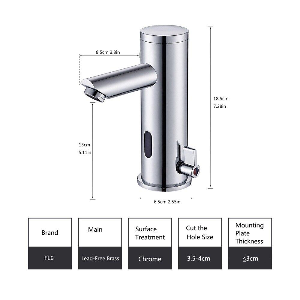 FLG capteur robinet automatique capteur gonflable main toucher robinet chaud froid mélangeur Chrome poli évier mélangeur salle de bains robinet bassin robinets - 2