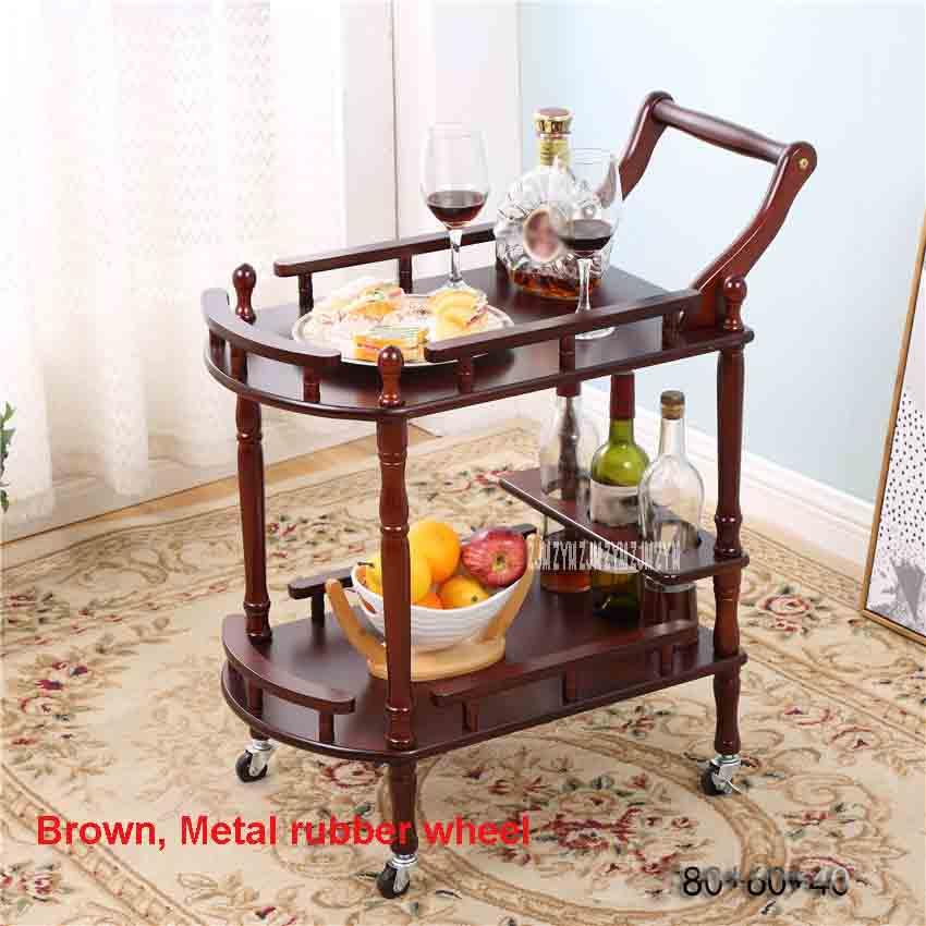 Гостиничные журнальные столики на колесиках из цельного дерева, универсальная полка, демонстрационная стойка, бытовые двухслойные передвижные чайные столы, обеденная машина - Цвет: Brown metal wheel