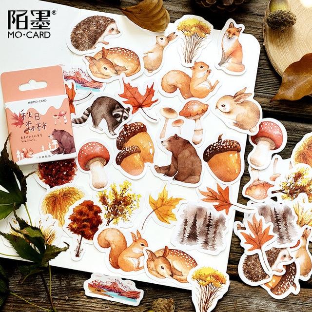 Calcomanías decorativas de otoño bosque Scrapbooking DIY diario Album Stick Lable