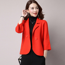 Women's Tweed Blazer Spring Woolen Coat Short Elegant Woman Jackets Thicken Suit
