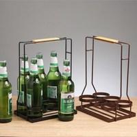 Simple Modern Wrought Iron Hand held Wine Rack KTV Bar Beer Basket Bottled Wine Rack Portable Bar Supplies