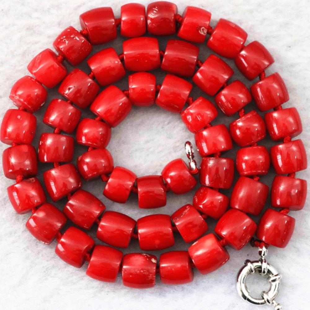 Natural red coral 8-10mm newly irregular semi-precious stone cube abacus rondelle beads diy jewelry necklace making 18inch B1023