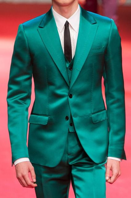 2017 Latest Coat Pant Designs Green Satin Men Suit Slim Fit Tuxedo 3 ...
