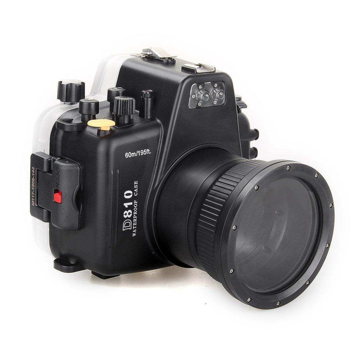 Meikon 60m195ft Waterproof Underwater Camera Housing Case Diving Equipment for Nikon D810