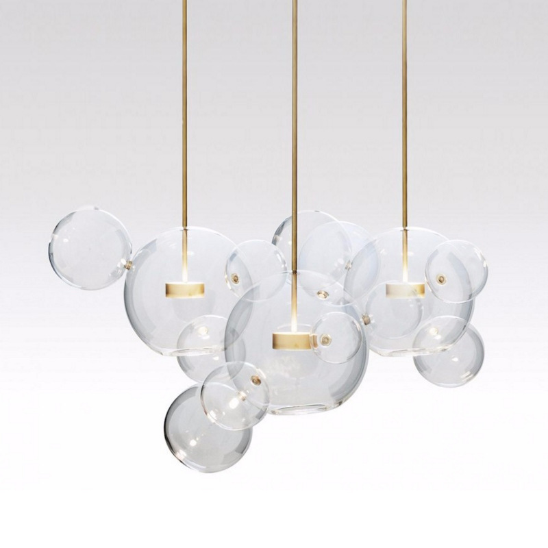Clear Glass Ball Living Room Chandeliers Art Deco Bubble Lamp Shades