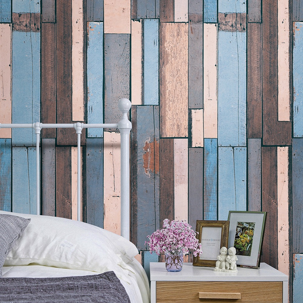 купить HaokHome Vintage Wood PlankWallpaper Rolls Blue/Sand/Brown Wooden Plank Murals Home Bedroom Kitchen Bathroom Photo Wall Paper по цене 3053.09 рублей