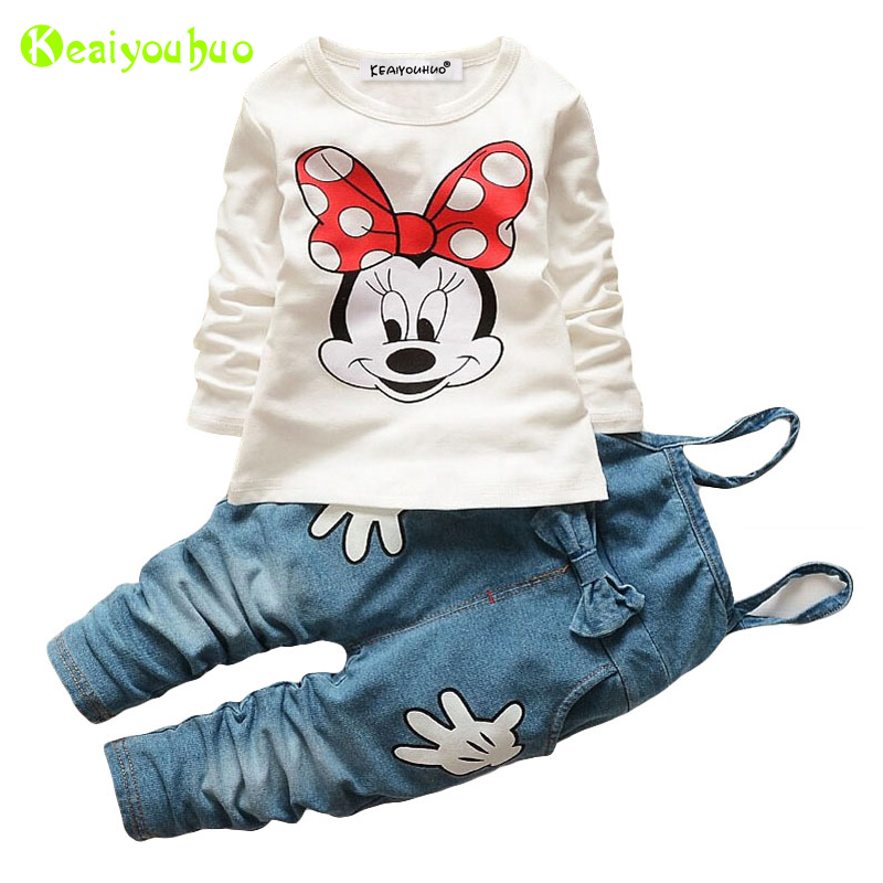 Children Clothes 2019 Autumn Winter Girls Clothes T-shirt+Overalls Outfit 2pcs Kids Clothes Costume Suit For Girls Clothing Sets
