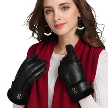Brand New 2019 Handmade 100% Real Leather Winter Warm Gloves Women Sheepskin Wool Fur Genuine Leather female Full Finger Gloves