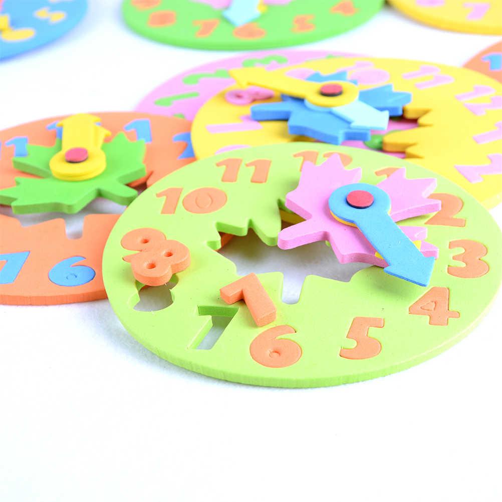 1 adet 3-6 yaş çocuklar DIY Eva saat öğrenme eğitim oyuncaklar eğlenceli matematik oyunu çocuklar için bebek oyuncak hediyeler