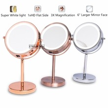 Magnifying Lighted Cosmetic Mirror Stand Tabletop Makeup 1X/3X with 18 LED Battery-Operated
