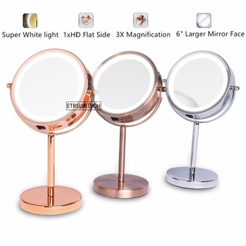 6 1X/3X Magnifying Double Sided Mirror With Stand 18 LED Lighted Tabletop Makeup Cosmetic Mirror Battery Operated 3 colors bath mirror cosmetic mirror 1x 3x magnification suction cup adjustable makeup mirror double sided bathroom mirror
