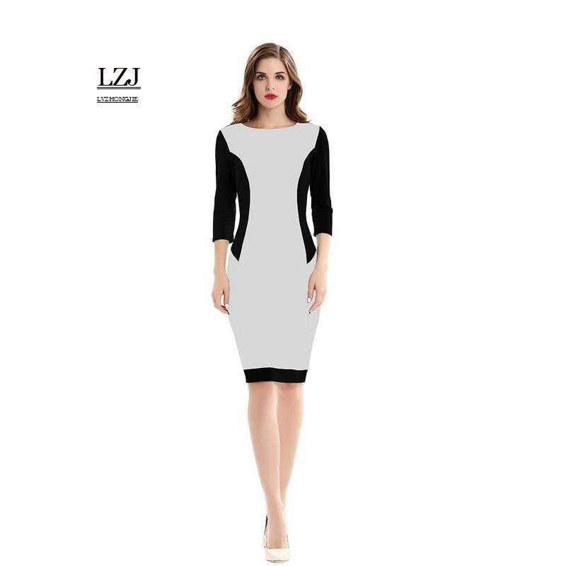 LZJ new summer women s Ukrainian women s dress O collar 7 sleeves Solid  color splicing women s work pencil dress vestidos size-in Dresses from  Women s ... 66c48ea245d8