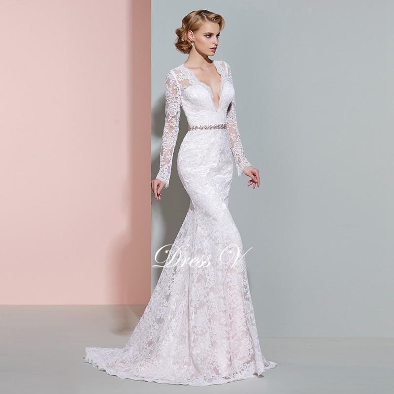 2b7112b226 Dressv elegancki lace wysoka neck mermaid bez rękawów przycisk hollow suknia  ślubna piętro długość proste suknie ślubne suknia ślubnaUSD 159.05 piece