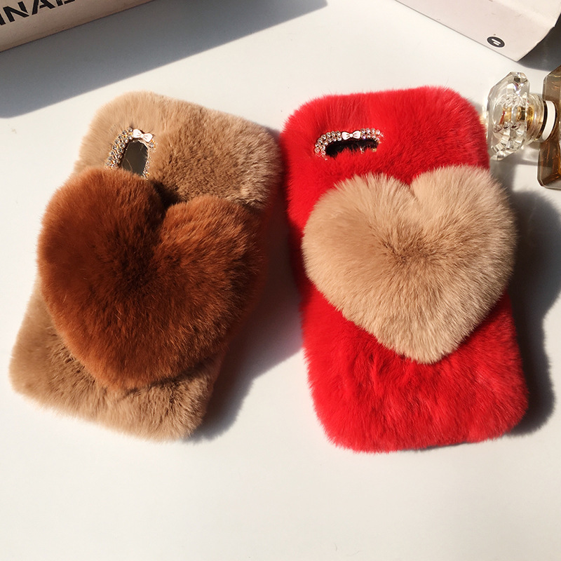 Love Heart Case For VIVO V11 PRO Y83 PRO V9 NEX Y81  Cute Rabbit Cover Hairy Fur Fluffy Phone Case For X21i Y53i