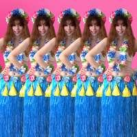 6PCS/set Fashion Plastic Fibers Women Grass Skirts Hula Skirt Hawaiian costumes 80CM Ladies Dress Up Festive & Party Supplies