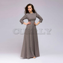 CUERLY Spring Summer casual dress Retro wave point long Women vintage style O-neck 3/4 sleeve Elegant