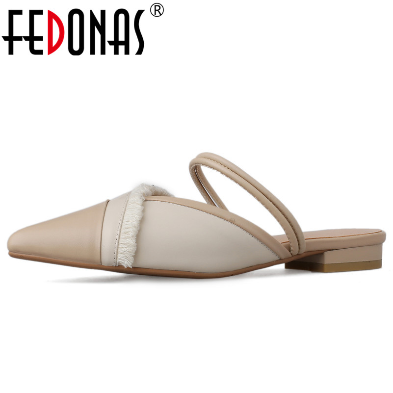 FEDONAS 2019 Concise Elegant Single Shoes Genuine Leather Women Pumps Classic Pointed Toe Mixed Colors Party Casual Shoes Woman