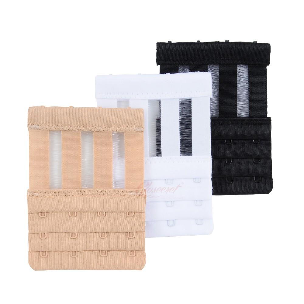 Closecret Women's 3 Rows 4 Hooks Bra Back Strap Extender(Set of 3,White, Nude and Black ) 6