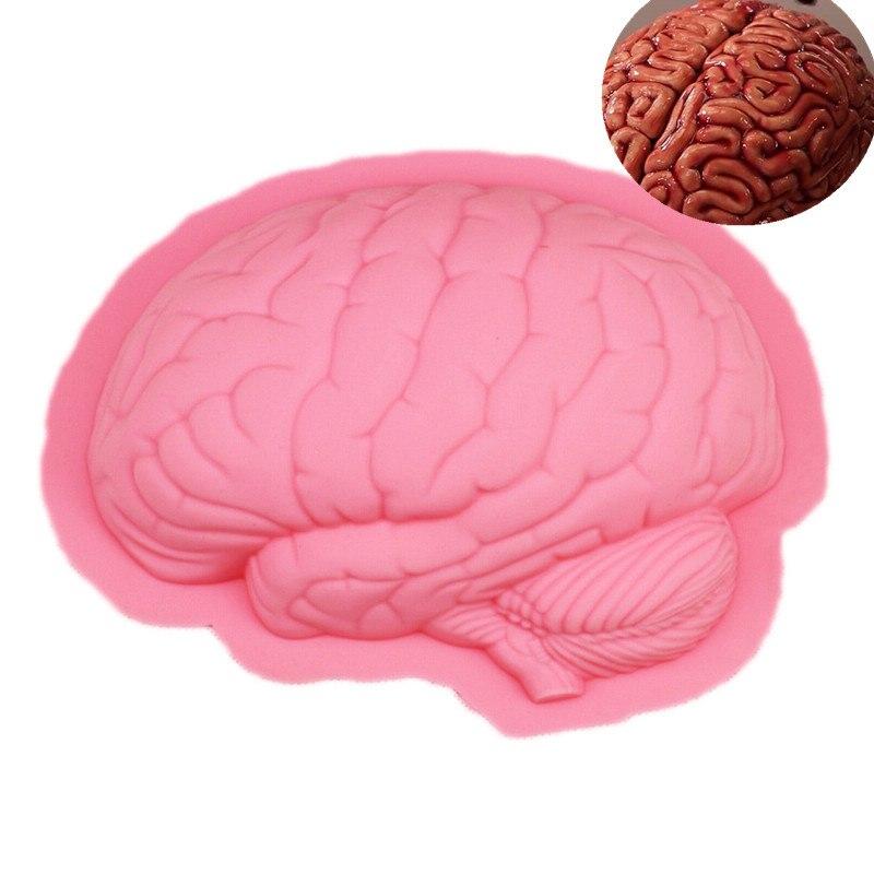 3D Gran Cerebro Molde de Pastel de Silicona Moldes de Jabón de Chocolate de Hall