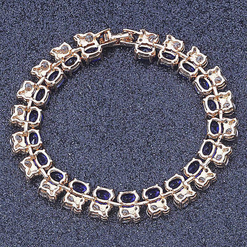 Nieuwe Collectie! Top Kwaliteit Luxe Koninklijke Blauw & Wit Zirkoonkristal Gold Colour mode-sieraden Charm Armbanden S089