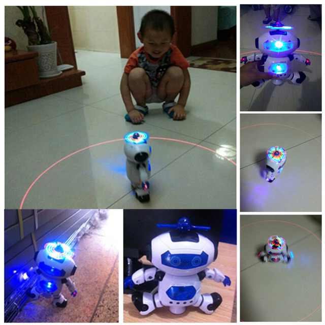 360 Rotating Space Dancing Robot Musical Walk Lighten Electronic Toy Robot Christmas Birthday Gift Toy For Child