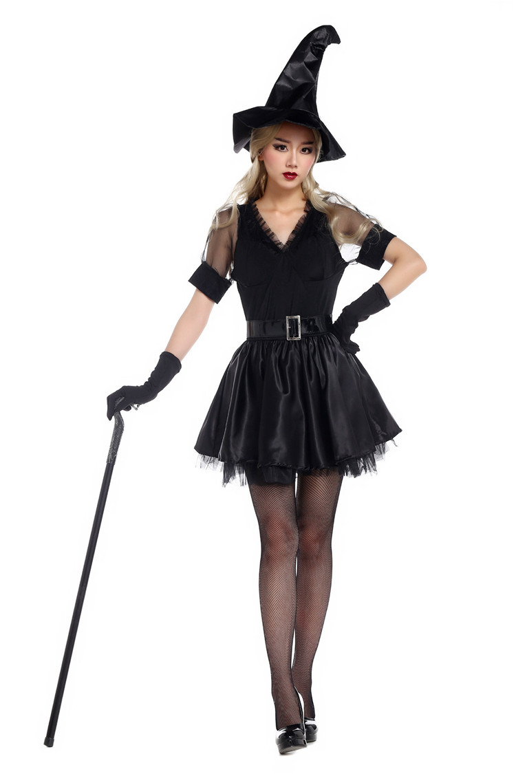 Black dress gloves - 2017 Hot Halloween Costume Masquerade Black V Neck Short Dress Lady Sexy Skirt With Hat Gloves Witch Cosplay Costume