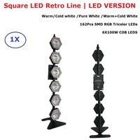 Novo Design 6X100W Branco Quente/Frio Branco Luzes LED Pixel DMX Luzes de Flash Retro Com 162 pcs Cor RGB SMD LEDS Frete Grátis