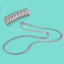 Fashion Men's solid silver necklace short section 46cm snake chain 925 sterling silver necklace men's charm jewelry best gift classic silver plated alloy twistedstring chain necklace silver 46cm