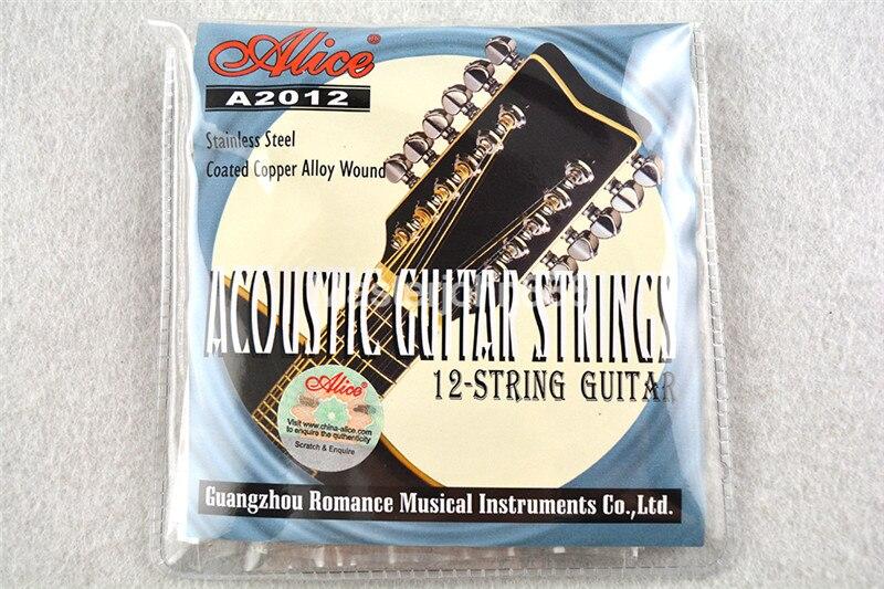 Alice A2012 12-String Acoustic Guitar Cordas de Aço Inoxidável Revestido de Cobre Liga de Feridas 1st-12th Grosso Gratuito Shippng
