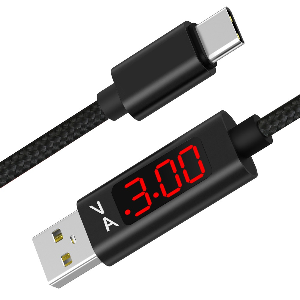 1M Micro USB Type C Voltage Current Tester Meter Display Nylon Braided Fast Charging Type-C Cable For Samsung S9 Note 8 Android remax 2 in 1 micro usb cable 1m fast charging