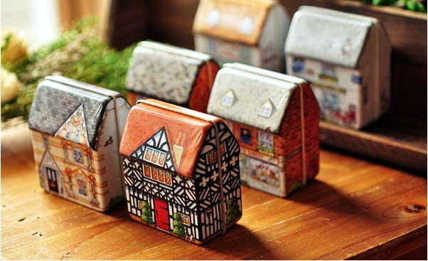 Home Decor Tea Biscuit Tin Candy Box Storage Mini Small House Painted